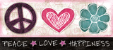 Peace Love Happiness Affiches par Jennifer Pugh
