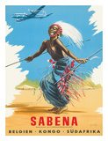 Sabena Airlines, Belgium - Congo - South Africa c.1950s Gicle-tryk af C. J. Pub