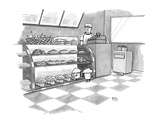 In a bakery, a muffin outside the glass display speaks through a  connect… - New Yorker Cartoon Premium Giclee Print by Benjamin Schwartz
