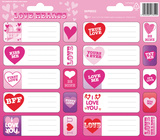Love Hearts Sticker Name Labels Stickers