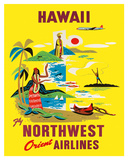 Northwest Orient Airlines, Hawaii c.1960s Giclee Print