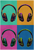 Headphones Vintage Style Pop Art Poster Print