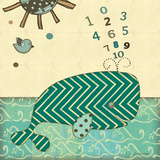 Number Whale Prints by Jo Moulton