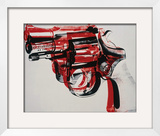 Gun, c.1981-82 (black and red on white) Framed Giclee Print by Andy Warhol