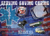 Serving Saving Caring Poster by Jim Baldwin