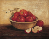 Apples In Wood Bowl Print by T. C. Chiu