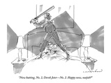 """Now batting, No. 2, Derek Jeter—No. 2. Happy now, nutjob?""  - New Yorker Cartoon Premium Giclee Print by Michael Crawford"