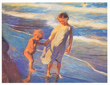 Children On The Beach Prints by Joaquín Sorolla y Bastida