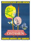 Hamburg America Line, Ostasien c.1962 Posters by Fritz Schoppe
