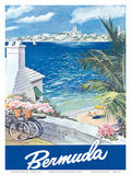 Bermuda Travel Poster c.1950s Art by  Lesnon