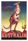 Australia, Airline &amp; Travel Kangaroo c.1957 Posters by Eileen Mayo