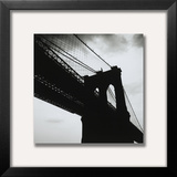 Silhouette Of The Brooklyn Bridge/New York Framed Photographic Print by Alex Fradkin