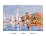 Boats at Argenteuil Print van Claude Monet