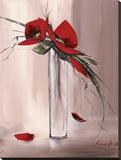Les Fleurs Rouges II Stampa su tela di Olivier Tramoni