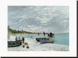 La Plage À Sainte Adresse Stretched Canvas Print by  monet