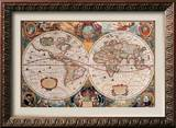 Antique Map, Geographica, Ca. 1630 Poster by Henricus Hondius