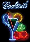Neon Cocktails Tin Sign