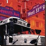 School Bus Bedruckte aufgespannte Leinwand von Vincent Gachaga