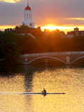 A Man Rowing across the Charles River Fotografisk tryk af Robbie George