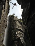 A Canyoneer Makes One of 14 Rope Descents in Kanangra Main Photographic Print by Peter Carsten