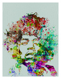 Jimmy Hendricks : portrait à l'aquarelle Affiches par  NaxArt