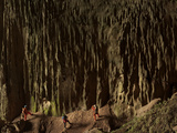 Cavers Stare at a Cascade of Fluted Limestone, Greened By Algae Photographic Print by Carsten Peter