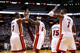 Miami, FL - June 17: Dwyane Wade, LeBron James and Chris Bosh Photographic Print by Mike Ehrmann