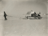 Explorers Guide a Motorized Sledge Hauling Supplies Photographic Print by Herbert Ponting