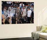 Oklahoma City, OK - June 6: TNT NBA analysts Ernie Johnson Jr. and Kenny Smith present the NBA West Wall Mural by Garrett W. Ellwood