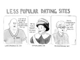 Three panel cartoon of online dating profiles for a convict, a Belgian, an - New Yorker Cartoon Premium Giclee Print by Emily Flake