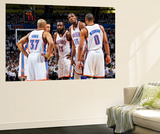 Oklahoma City, OK - June 6: Derek Fisher, Nick Collison, James Harden, Kevin Durant and Russell Wes Print by Layne Murdoch