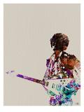 Hendrix avec guitare, aquarelle Reproduction giclée Premium par  NaxArt