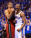 Oklahoma City, OK - June 12: Russell Westbrook and Shane Battier Photo by Ronald Martinez