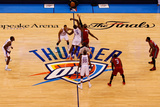 Oklahoma City, OK - June 12: Serge Ibaka and LeBron James Photographic Print by Mike Ehrmann