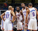 Oklahoma City, OK - June 6: Derek Fisher, Nick Collison, James Harden, Kevin Durant and Russell Wes Photographic Print by Layne Murdoch