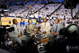 Oklahoma City, OK - June 6: TNT NBA analysts Shaquille O'Neal, Ernie Johnson Jr., Kenny Smith and C Photographic Print by Layne Murdoch