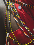 Close Up Detail of a Maasai Tribesman's Beaded Jewelry Fotografisk tryk af Nigel Hicks
