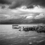 A Dock on the Bay with a Storm Approaching in the Outer Banks Photographic Print by Keith Barraclough