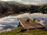 Two Chairs on a Small Dock on a Calm Lake with Cloud Reflections Photographic Print by Amy & Al White & Petteway