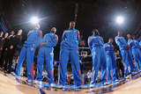 Oklahoma City, OK - June 6: The Oklahoma City Thunder stands for the National Anthem Photographic Print by Garrett W. Ellwood