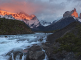 The Peaks of Torres Del Paine Glow in the First Light of Dawn Photographic Print by Maria Stenzel