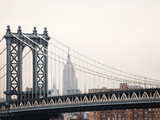 Empire State Building and Manhattan Bridge from the Brooklyn Bridge Photographie par Keith Barraclough