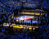 Miami, FL - June 17: General view of the arena as teams line up for Game Three of the 2012 NBA Fina Photographic Print by Mike Ehrmann