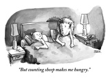 """But counting sheep makes me hungry.""  - New Yorker Cartoon Premium Giclee Print by Shannon Wheeler"