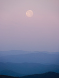 A Pink Full Moon Setting over the Blue Ridge Mountains Photographic Print by Amy & Al White & Petteway
