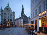 Nikolaj Church and Restaurants at Dusk, Copenhagen, Denmark, Scandinavia, Europe Photographic Print by Frank Fell