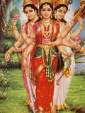 Picture of Hindu Goddesses Parvati, Lakshmi and Saraswati, India, Asia Photographic Print by  Godong