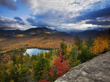 Heart Lake and Algonquin and Wright Peaks Fotografisk tryk af Michael Melford
