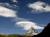 White Clouds and the Matterhorn, Zermatt, Valais, Swiss Alps, Switzerland, Europe Photographic Print by Hans-Peter Merten