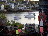 Scenic Village, Lobster Boats, Traps and Colorful Floats Photographic Print by Robbie George
